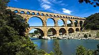 Ancient Roman Aqueduct - Pont du Gard, near Nimes, Languedoc France, Europe.