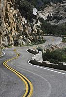 Winding mountain road that is the route thru Kings Canyon California, in the Sierra Nevada Mts.