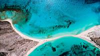Aerial view Tropical beach of island Cayo de Agua, Los Roques, Venezuela.