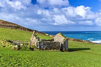 The ruins of St. Helens Oratory at Cape Cornwall, St. Just, Cornwall, England, United Kingdom, Europe.