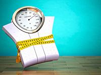Weighting scales with measuring tape. Diet concept. 3d.