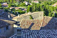 view over the roofs of village Le Barroux, Provence, France, view from castle Château du Barroux above