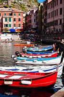 Fishing boats in harbour, Vernazza, Italian Riviera, Liguria, Italy.