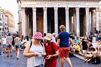 The Pantheon in Piazza della Rotonda crowded with tourists in summer, Rome, Lazio region, Italy.