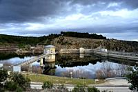 Dam and reservoir of El Villar, Robledillo de la Jara, Madrid, Spain