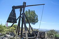 Catapult weapon in the grounds of Lorca Castle in Murcia Spain.