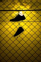 sneakers hanging on a cable, Alcocebre, Castellon, Spain