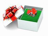 House in the gift box on white isolated background. 3d.