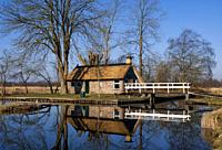 Peat gatherers house in nature reserve the Weerribben in the Dutch province Overijssel.