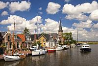 View at the Frisian village Woudsend which is a very busy water sports village in summer.