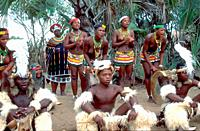 South Africa: Zulu tribal peoples ceremony.