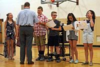 Middle School Students Receiving Awards, Wellsville, New York, USA.