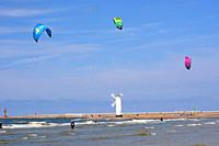 Kitesurfers in Swinoujscie, Poland, Europe.