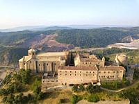 Aerial view of Cardona castle in Catalonia Spain.