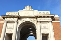 Detail from the top of the Menin Gate, Ypres, France.
