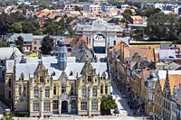 Menin Gate, Ypres from high view point over the town centre and the official Court House in Grote Markt, built in Flemish Renaissance style by the arc...