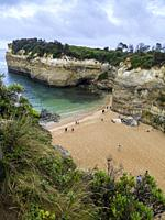 Angled view of the beach and cliffs at Loch Ard Gorge, Port Campbell National Park, Great Ocean Road, Victoria, Australia.