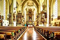 The magnificent decor inside the church of Andrew the Apostle (Heiliger Andreas) in Kitzbuhl, Austria.