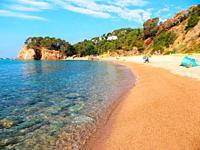 Canyet de Mar, the coastline of the municipality of Santa Cristina d'Aro where is the Rosamar urbanization. The Canyerets beach. . Catalonia, Cataluny...