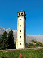 Chiavenna (Sondrio). The Collegiate fo San Lorenzo Church. The Bell Tower (1597-1603). The previous tower, in existence since the 12th century, was de...