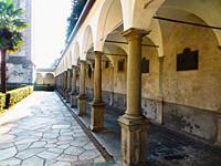 Chiavenna (Sondrio). Collegiate Church of San Lorenzo. The colonnade (1698-1699).