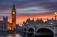 The Elizabeth Tower (Big Ben) and Westminster Bridge, London, England.