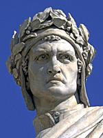 Florence (Italy). Detail of the sculpture of Dante next to the church Santa Croce in Florence.