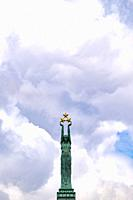 Freedom Monument in Riga, honouring soldiers killed during the Latvian War of Independence (1918-1920), Latvia, Baltic States.