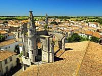view of Saint-Martin-de-Re from clock tower, Ile de Re, Charente-Maritime Department, Nouvelle Aquitaine, France.