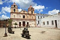 View to the Carmen Church-Iglesia de Nuestra Senora del Carmen in Plaza Del Carmen Square with statues in the foreground at the historic center, Camag...