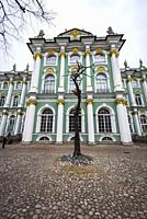 Facade of the Winter Palace in Saint Petersburg, Russia. Hermitage museum.