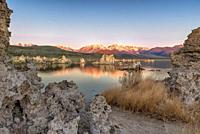 Above Mono Lake Tufa alpenglow on the Sierra Nevada Mountains display a vivid orange-red, reflecting the momentary spectacle the lake's edge, Lee Vini...