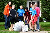 Middle School Girls and Teachers Collecting Cans for Community Service Day, Wellsville, New York.