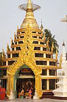 The Htidaw pagoda inside the Shwedagon pagoda, Yangon, Myanmar, Asia.