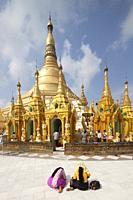 Shwedagon pagoda, Yangon, Myanmar, Asia.