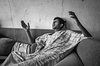 Italy, Mortara, daily life in the home of young migrant Egyptian boys.