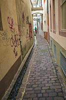 The Freiburg Bächle. Small canals. Historial old town. Freiburg. Freiburg im Breisgau. Black Forest. Baden Wurttemberg. Germany