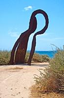 Rusty iron sculpture in Es Carnatge on a sunny summer day in Mallorca, Spain.
