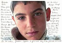 Tilburg, Netherlands. Scan of a printed portrait of a Syrian refugee boy with noted and comments about his situation in refugeecamp Al Za'aatari, Jord...