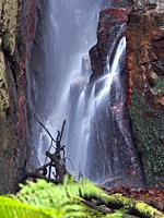 Detail of Sot del Infern waterfall. Arbucies countryside. Montseny Natural Park. Barcelona province, Catalonia, Spain.