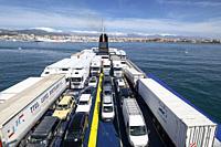 Vehiculos en un barco de la compañia Balearia, Mallorca, balearic islands, Spain.