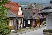 Jozefa Pilsudskiego street, village of Lanckorona, renowned for its well preserved 19th century wooden houses, Malopolska Province (Lesser Poland), Po...