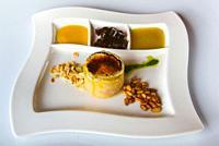 Plato de Terrina de foie con manzana y gelatina de PX (Foie terrine with apple and PX jelly). Restaurante Betixu. Iurreta, Biscay, Basque Country, Spa...