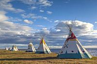 Canada, Quebec, Gaspe Peninsula, Gesgapegiag, Mic-Mac First Nations tee-pees by the Baie des Chaleurs.