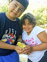 Little girl and boy with duckling.