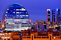View of La Vela building and Four towers business area, Madrid, Spain.