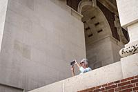 Taking a photo at Thiepval Memorial Thiepval Albert Peronne Somme Hauts-de-France France.
