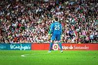 Thibaut Courtois, Real Madrid goalkeeper in action during a Spanish League match between Athletic Club Bilbao and Real Madrid