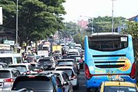 Traffic jam in Jakarta Highway, Indonesia