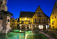 Nightfall in Eguisheim, Haut-Rhin, Grand Est, France.